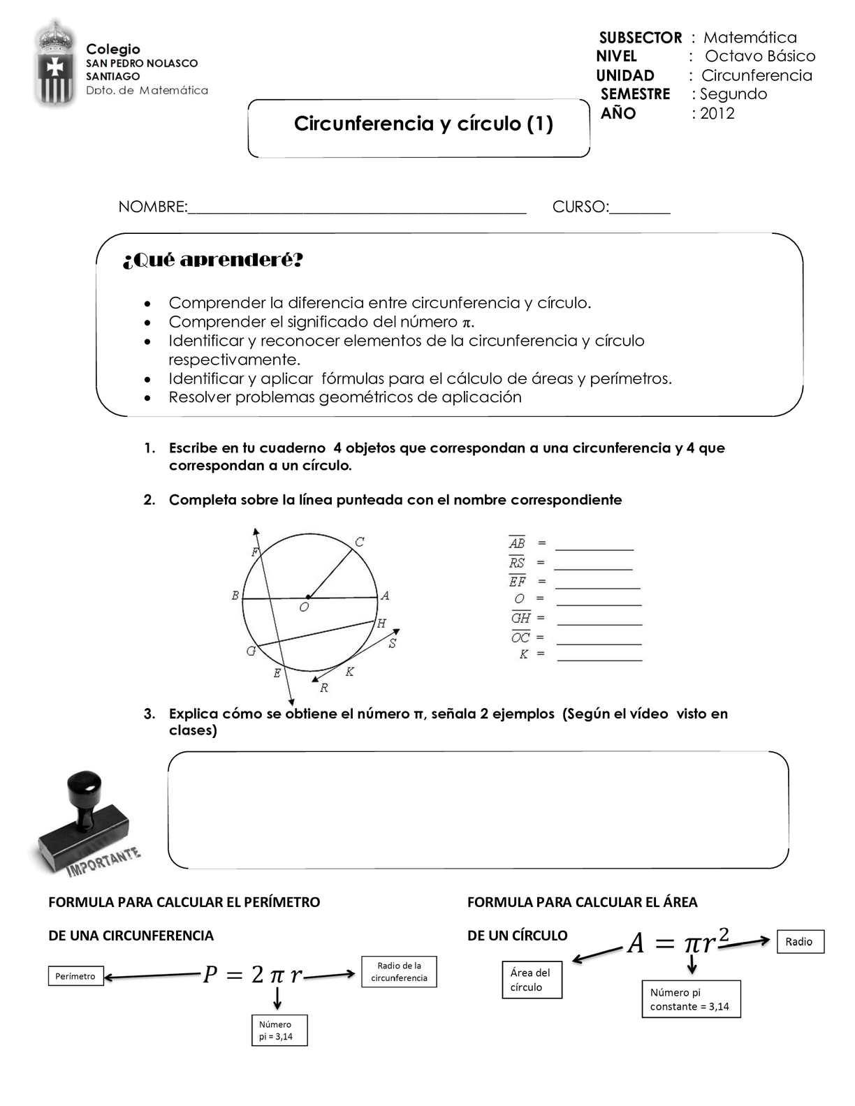 Guía 1 Circunferencia y círculo
