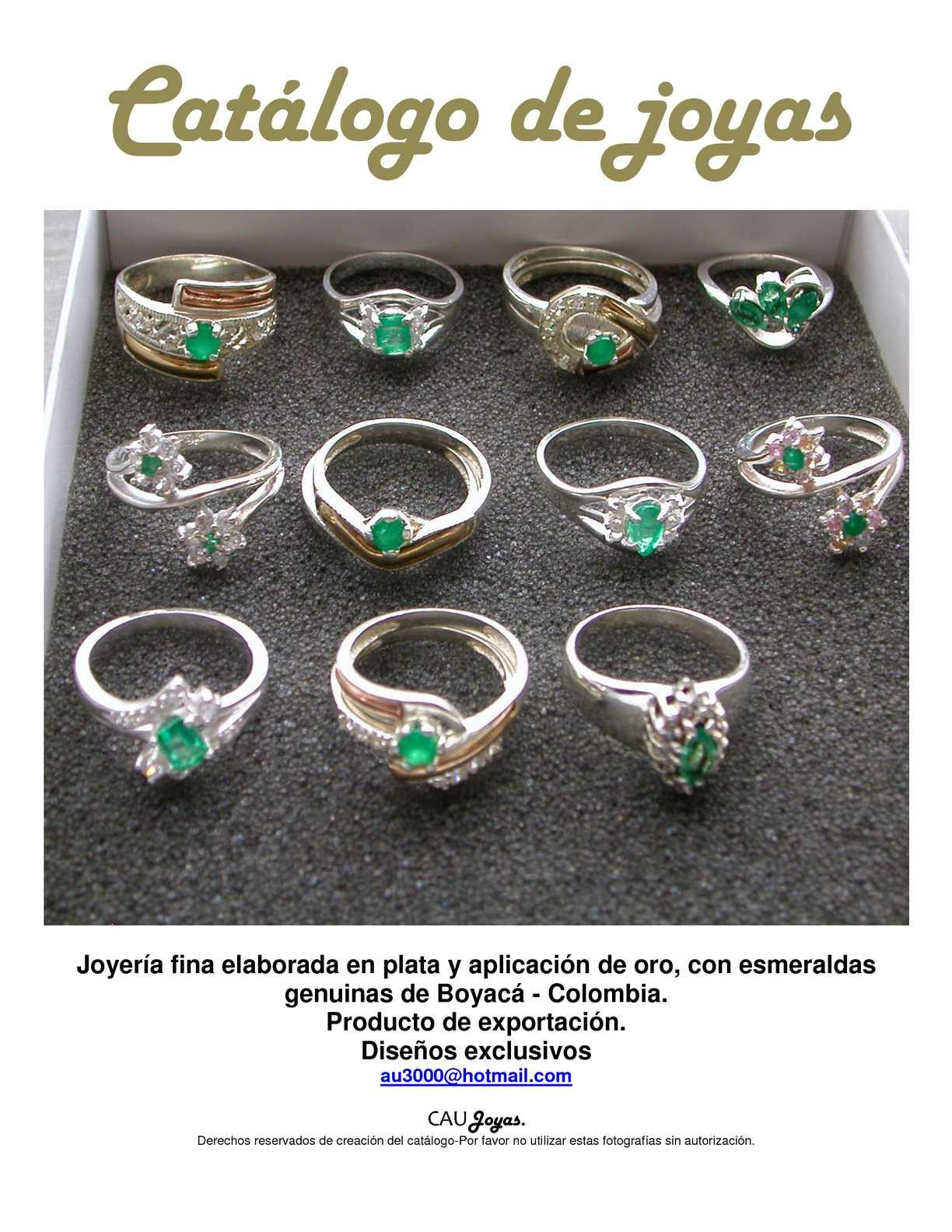Calam o joyer a en plata con esmeraldas for Disenos de joyas en oro