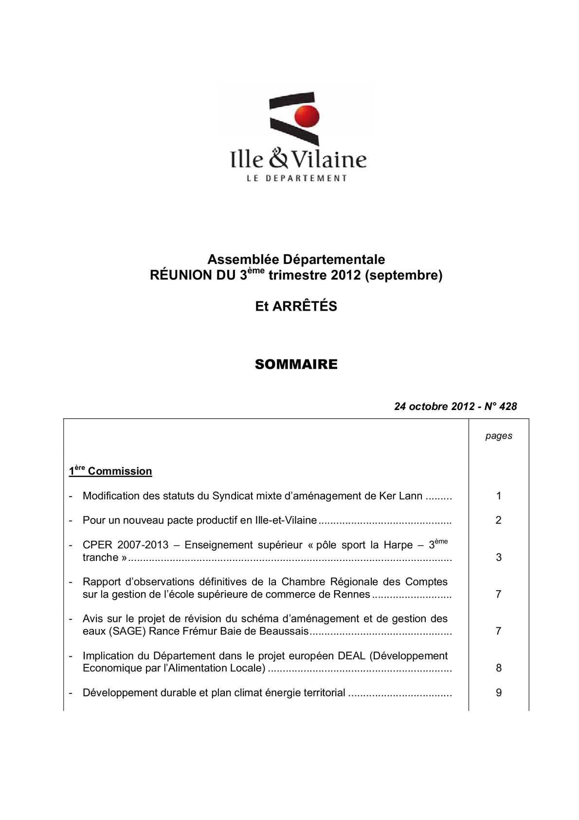 Calaméo - Ille-et-Vilaine - Recueil N°428   délibérations de l Assemblée du  3ème trimestre 2012 (septembre) et arrêtes 27a88163b003