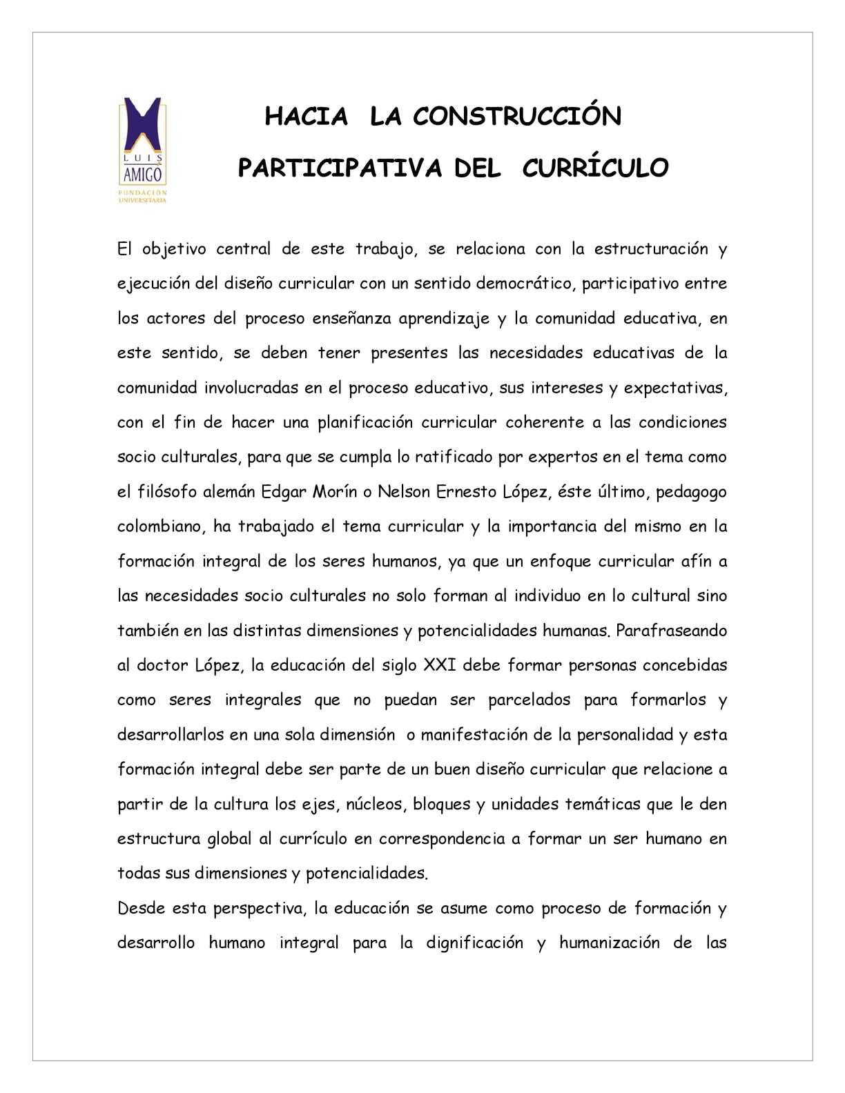 Calaméo - CONSTRUCCIÓN PARTICIPATIVA DEL MODELO CURRICULAR