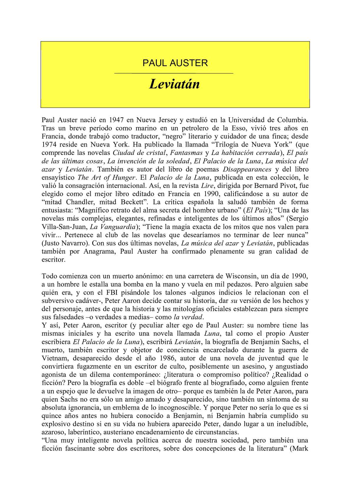 Calaméo - Auster, Paul - Leviat n