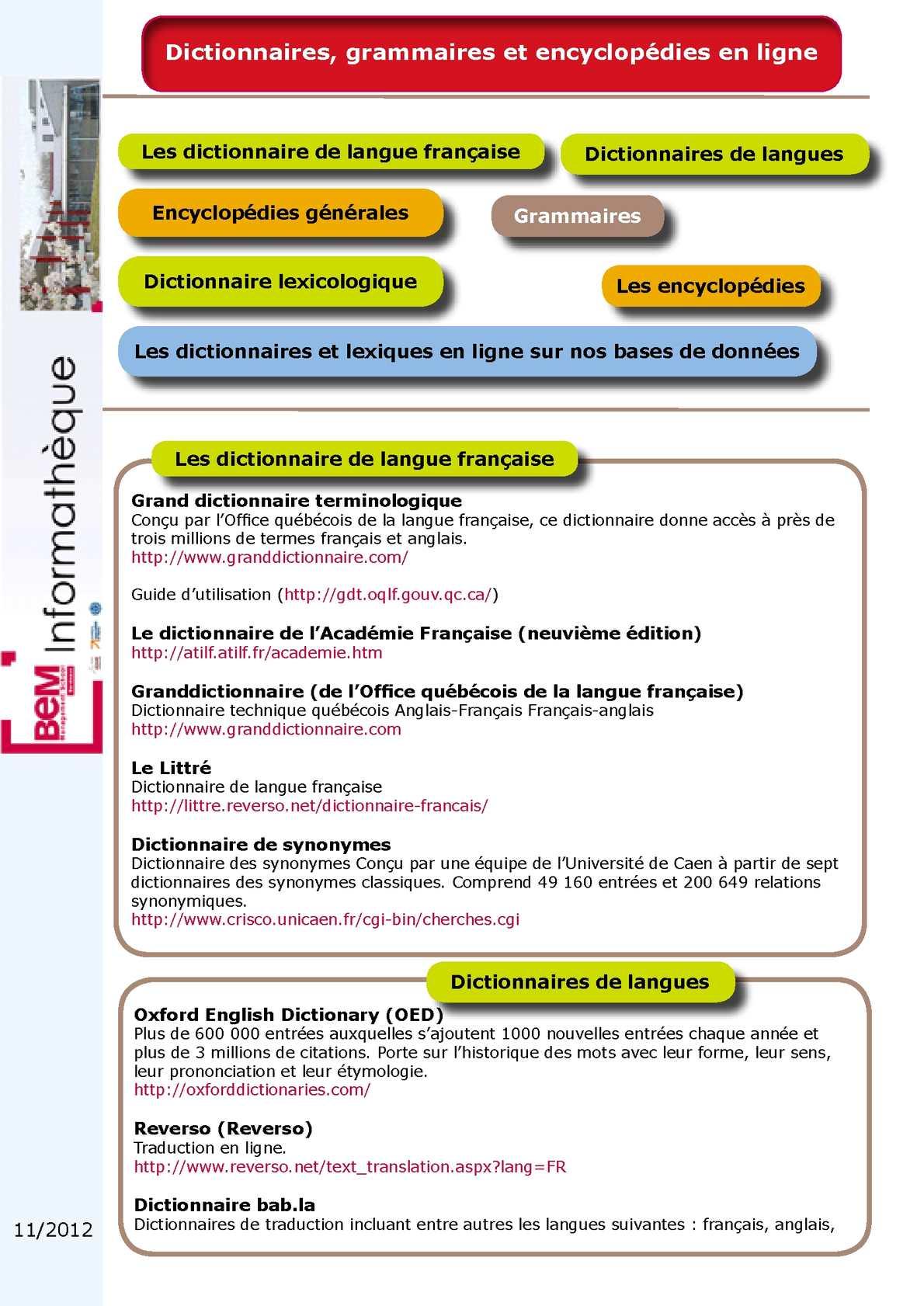 Calam o dictionnaires grammaires et encyclop dies en ligne - Office de la langue francaise dictionnaire ...