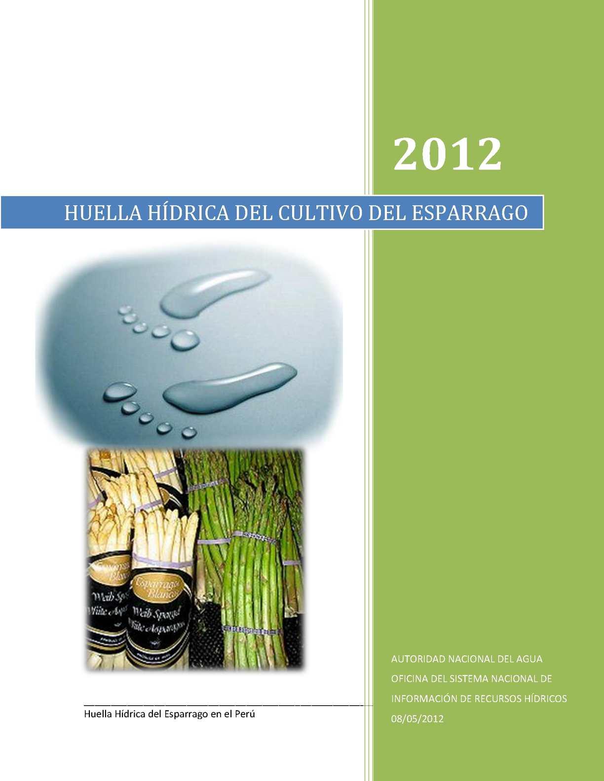 HUELLA HÍDRICA DEL ESPARRAGO EN EL PERÚ 2012