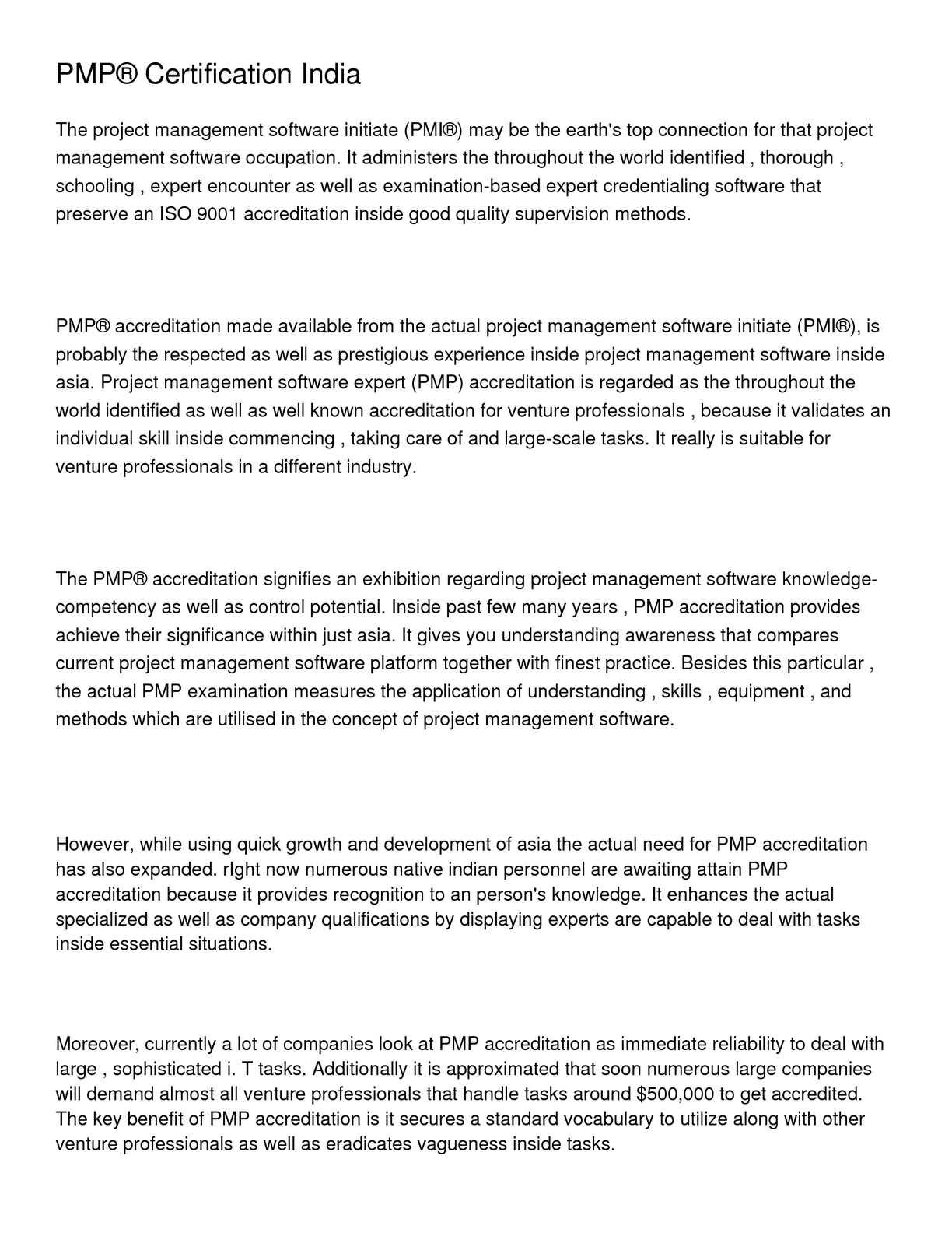 Calamo Pmp Certification India