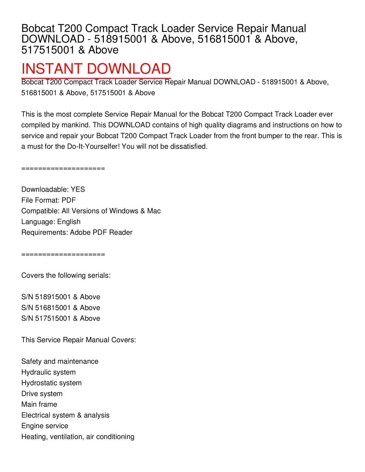 Bobcat T200 Wiring Diagram Online Schematics Fuse Box Location Calamo Compact Track Loader Service Repair Manual Solenoid Schematic