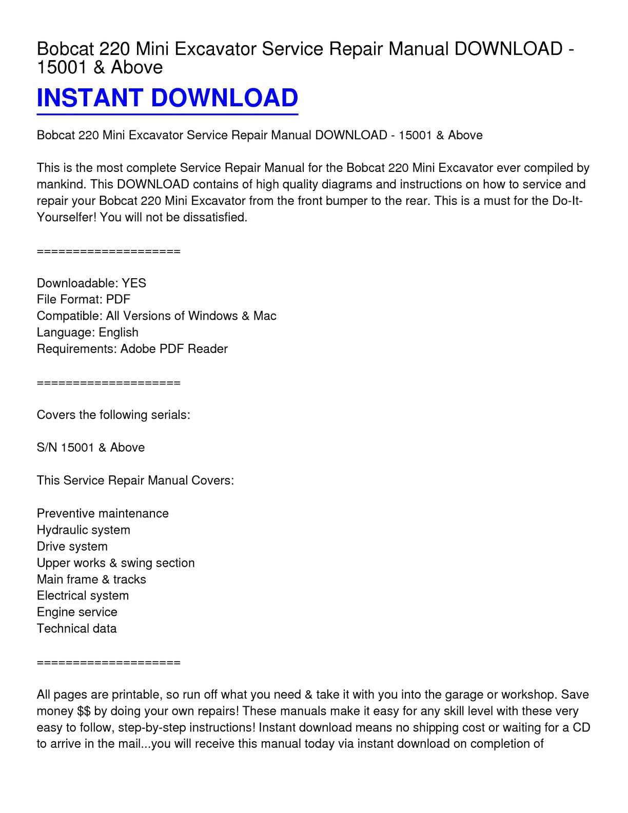 Calamo Bobcat 220 Mini Excavator Service Repair Manual Download Electrical Diagram Reading Pdf 15001 Above