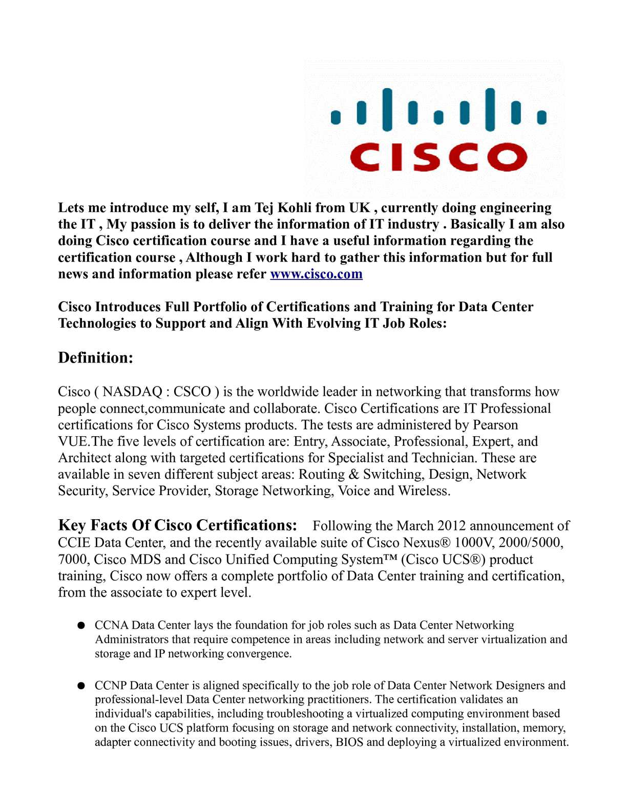 Calamo Cisco Certifications Training News By Tej Kohli Cisco