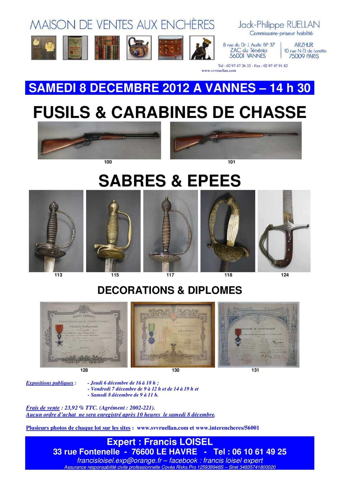 calam o francis loisel expert armes anciennes vente aux ench res vannes le 8 d cembre 2012. Black Bedroom Furniture Sets. Home Design Ideas