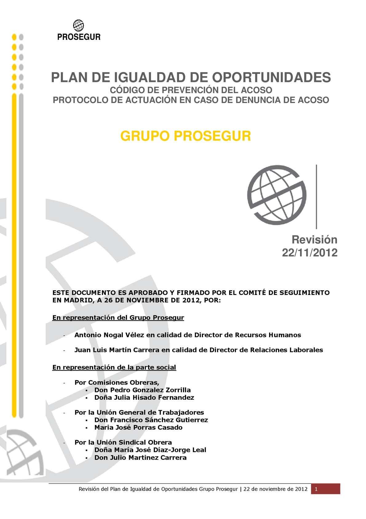 Calaméo - Revisión Plan de Igualdad de Prosegur (2012)