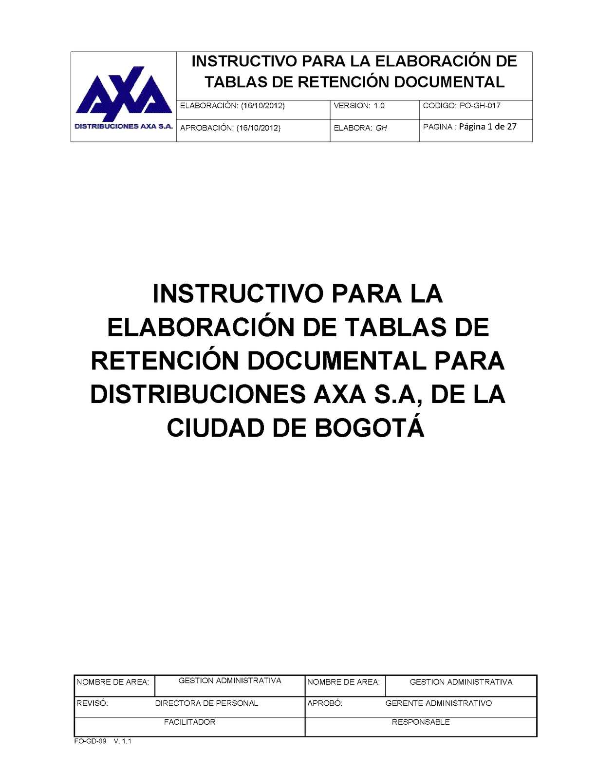 MANUAL PARA LA APLICACIÓN DE TABLAS DE RETENCION DOCUMENTAL