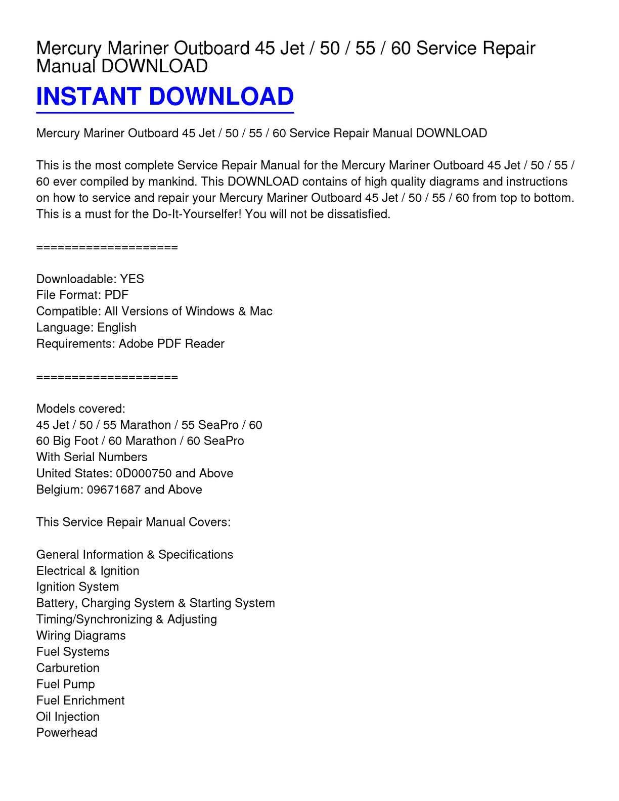 Calaméo - Mercury Mariner Outboard 45 Jet _ 50 _ 55 _ 60 Service Repair  Manual DOWNLOAD