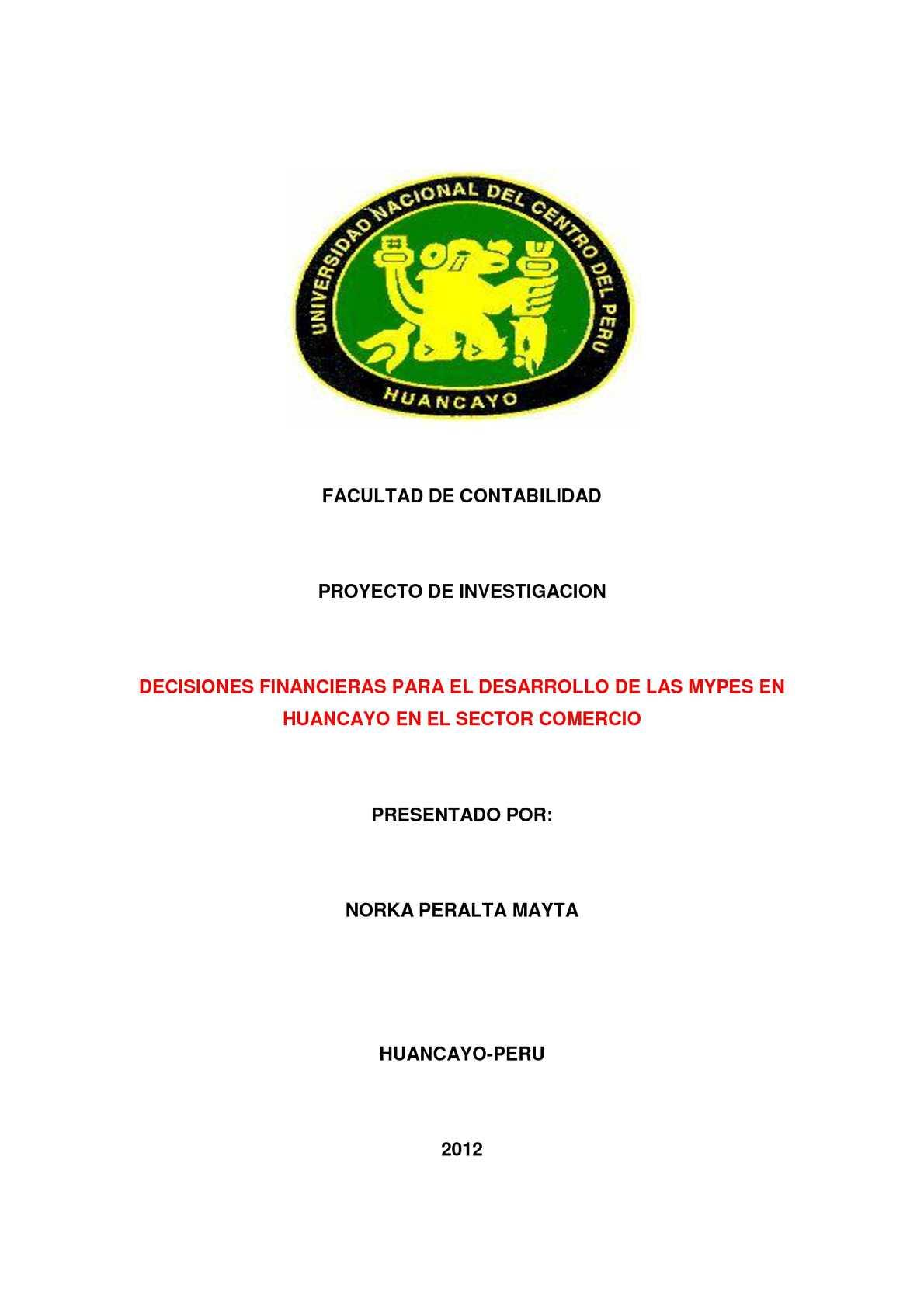 PROYECTO DE INVESTIGACIÓN - DECISIONES FINANCIERAS PARA EL DESARROLLO DE LAS MYPES EN HUANCAYO EN EL SECTOR COMERCIO