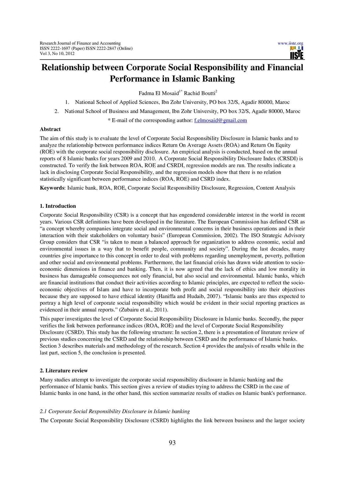 review of literature of financial performance