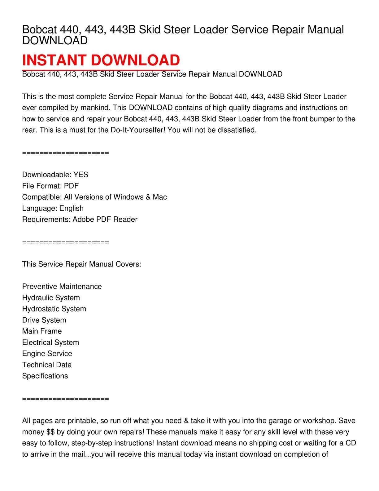 Calaméo - Bobcat 440, 443, 443B Skid Steer Loader Service Repair Manual  DOWNLOAD