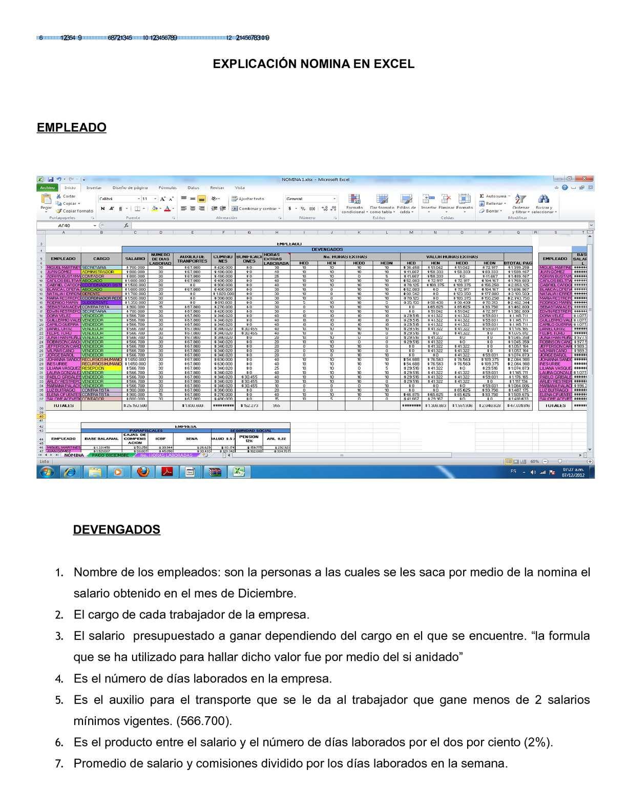 Calam O Explicaci N Nomina En Excel