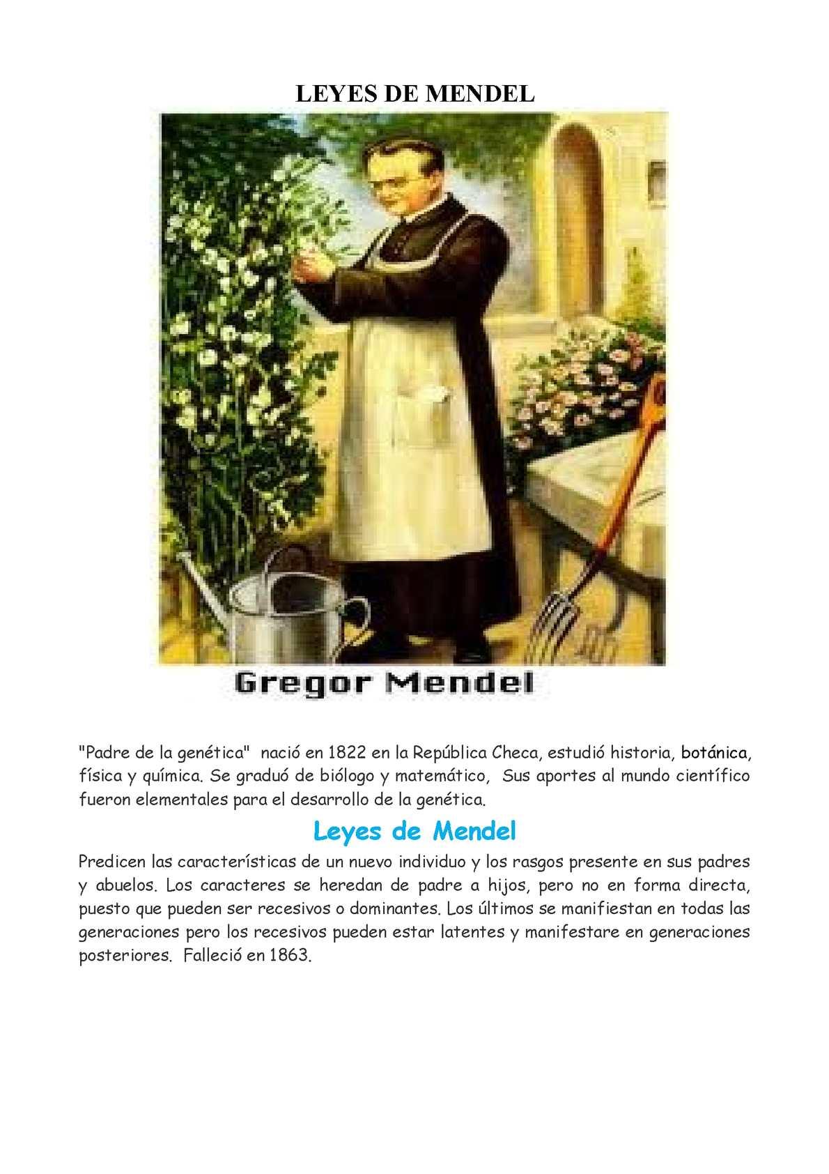 CARTILLA LEYES DE MENDEL
