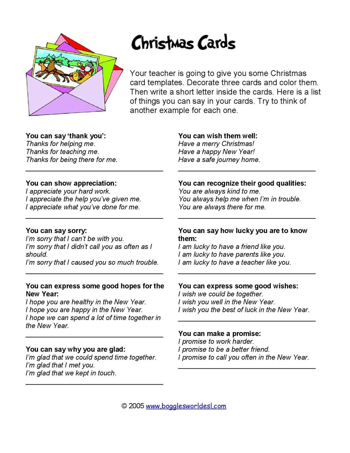 Calameo Christmas Cards Language Sheet
