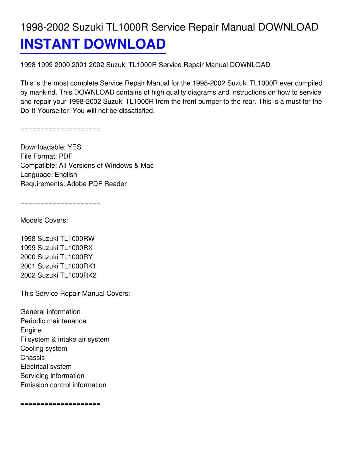 calam o 1998 2002 suzuki tl1000r service repair manual download rh calameo com Suzuki TL1000S Suzuki Hayabusa Turbo