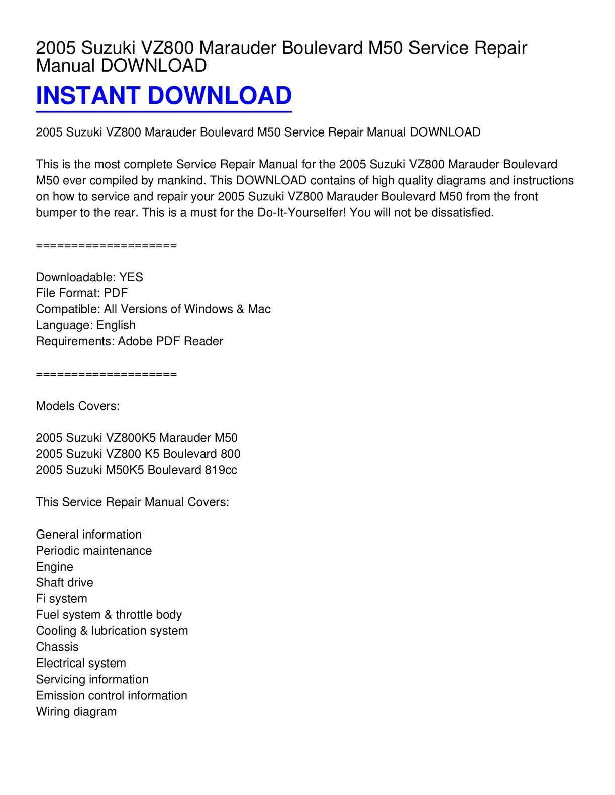 Calaméo - 2005 Suzuki VZ800 Marauder Boulevard M50 Service Repair Manual  DOWNLOAD