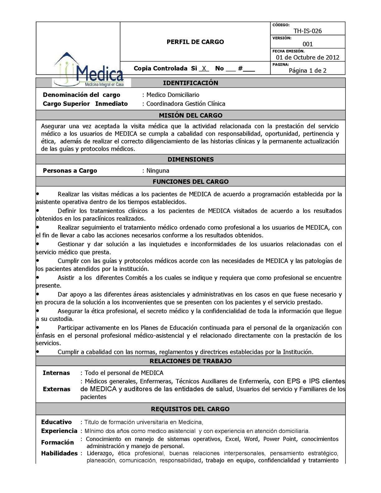 TH-IS-026 MEDICO DOMICILIARIO