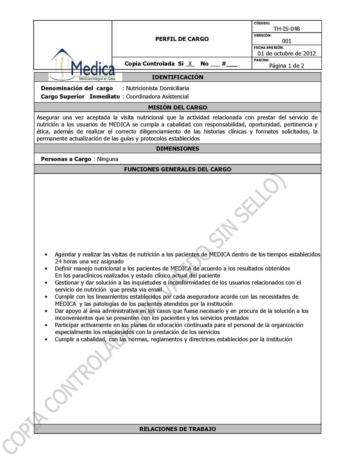 TH-IS-048 PERFIL DE CARGO NUTRICIONISTA