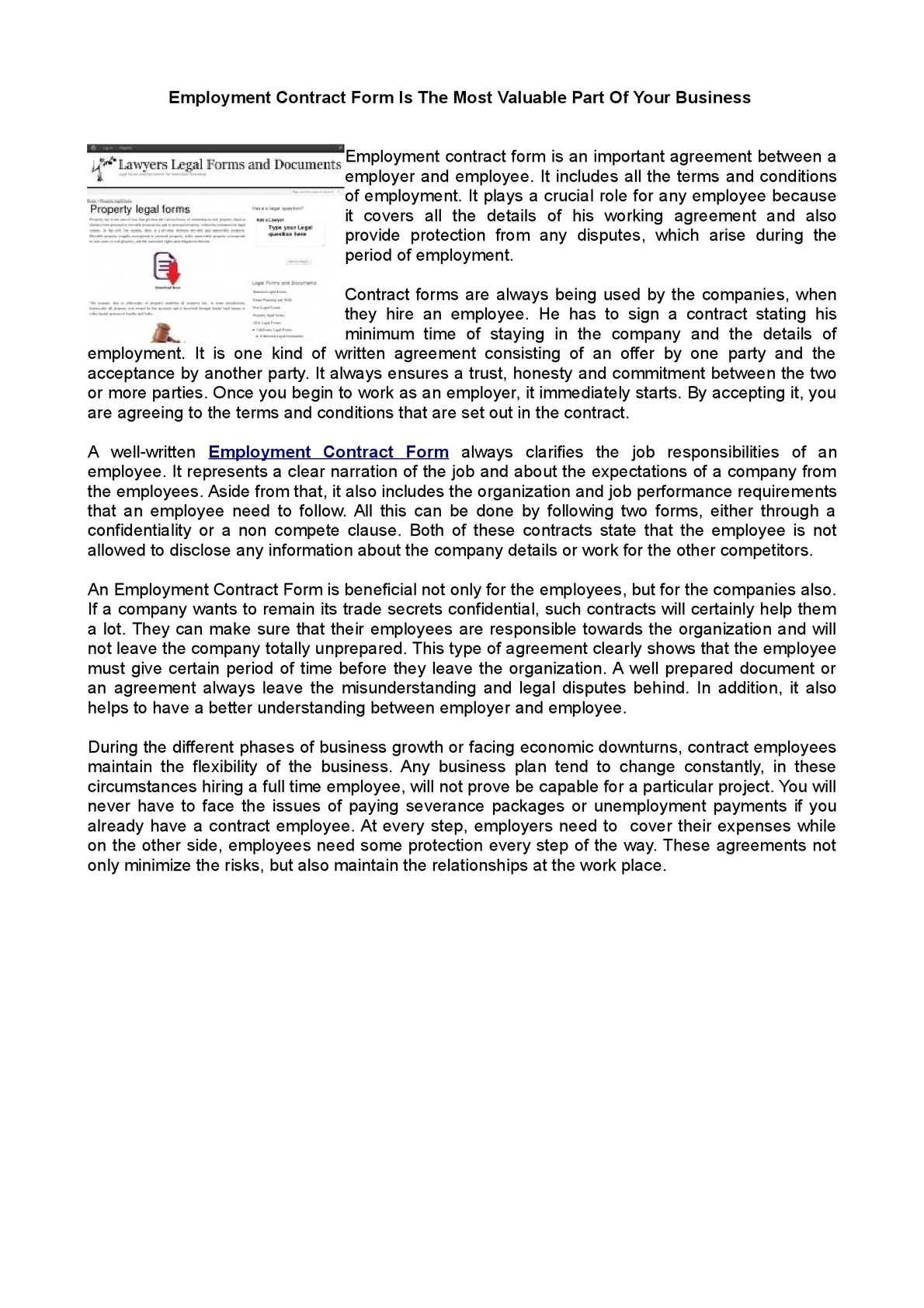 Calamo Employment Contract Form