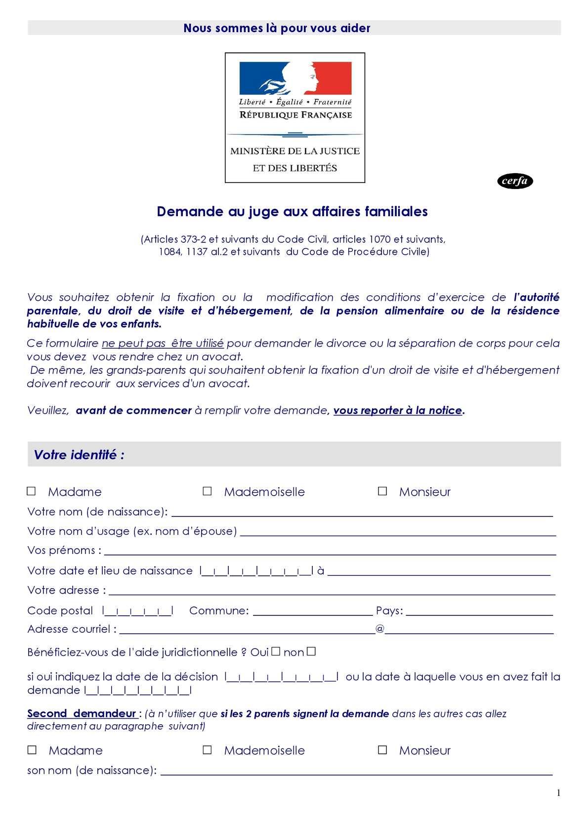 Calam o imprim type formulaire requ te saisine jaf demande au juge aux affaires familiales - Comment obtenir un avocat commis d office ...