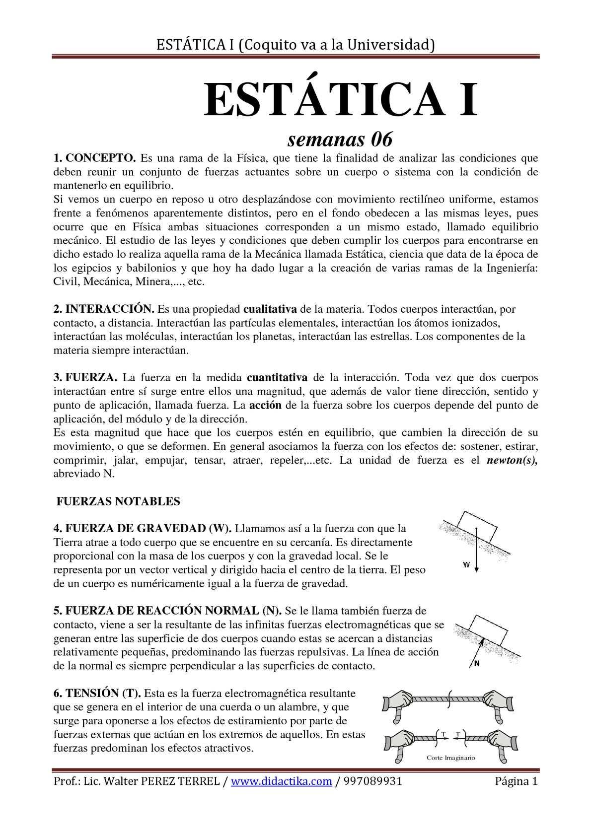 EQUILIBRIO DE UNA PARTÍCULA