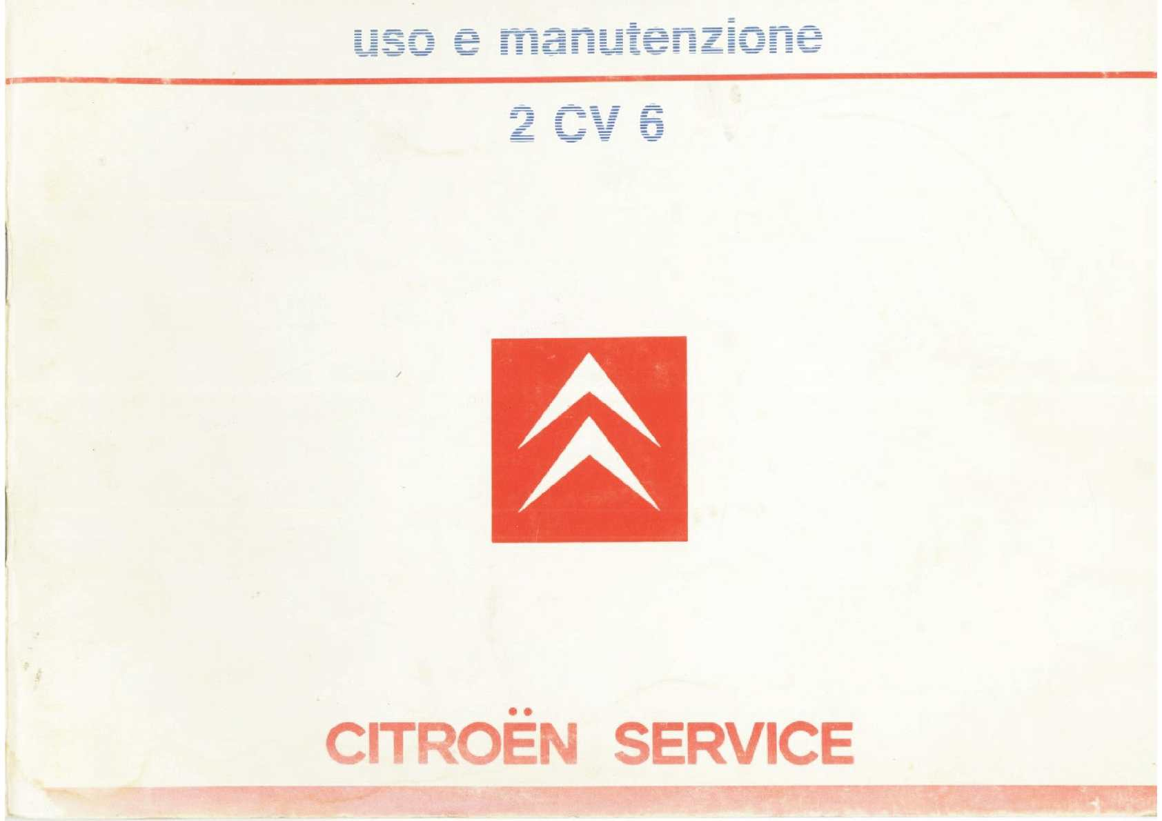 Libretto uso e manutenzione Citroen 2cv6 Charleston