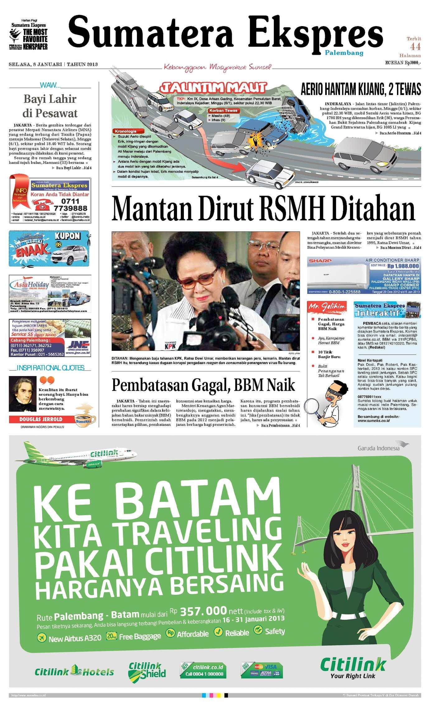 Calamo Sumatera Ekspres 8 Januari 2013 Penutup Toilet Duduk Otomatis Izen Ib 450