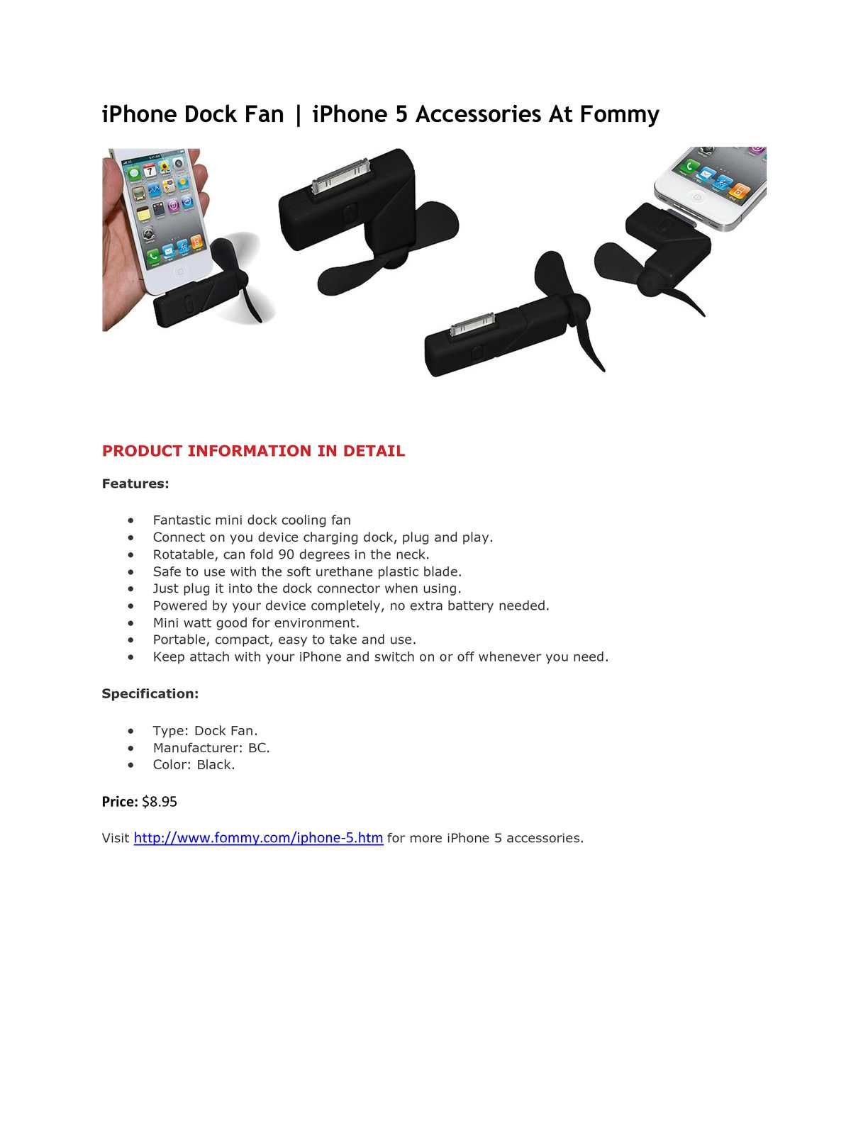 Calamo Iphone Dock Fan 5 Accessories At Fommy Cord Wiring Diagram