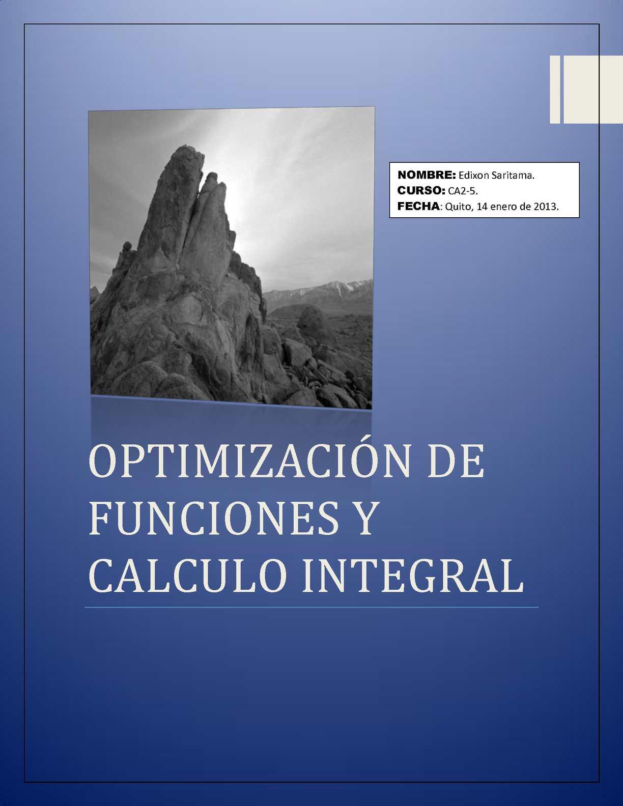 Optimización de funciones y Calculo integral