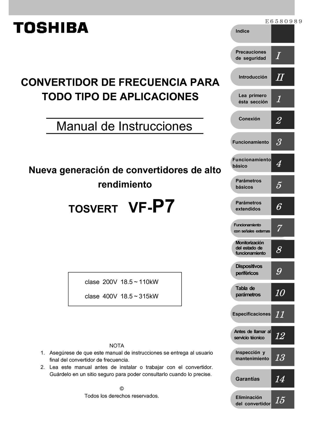 MANUAL VARIADOS FRECUENCIA TOSHIBA VF-P7 CASTELLANO