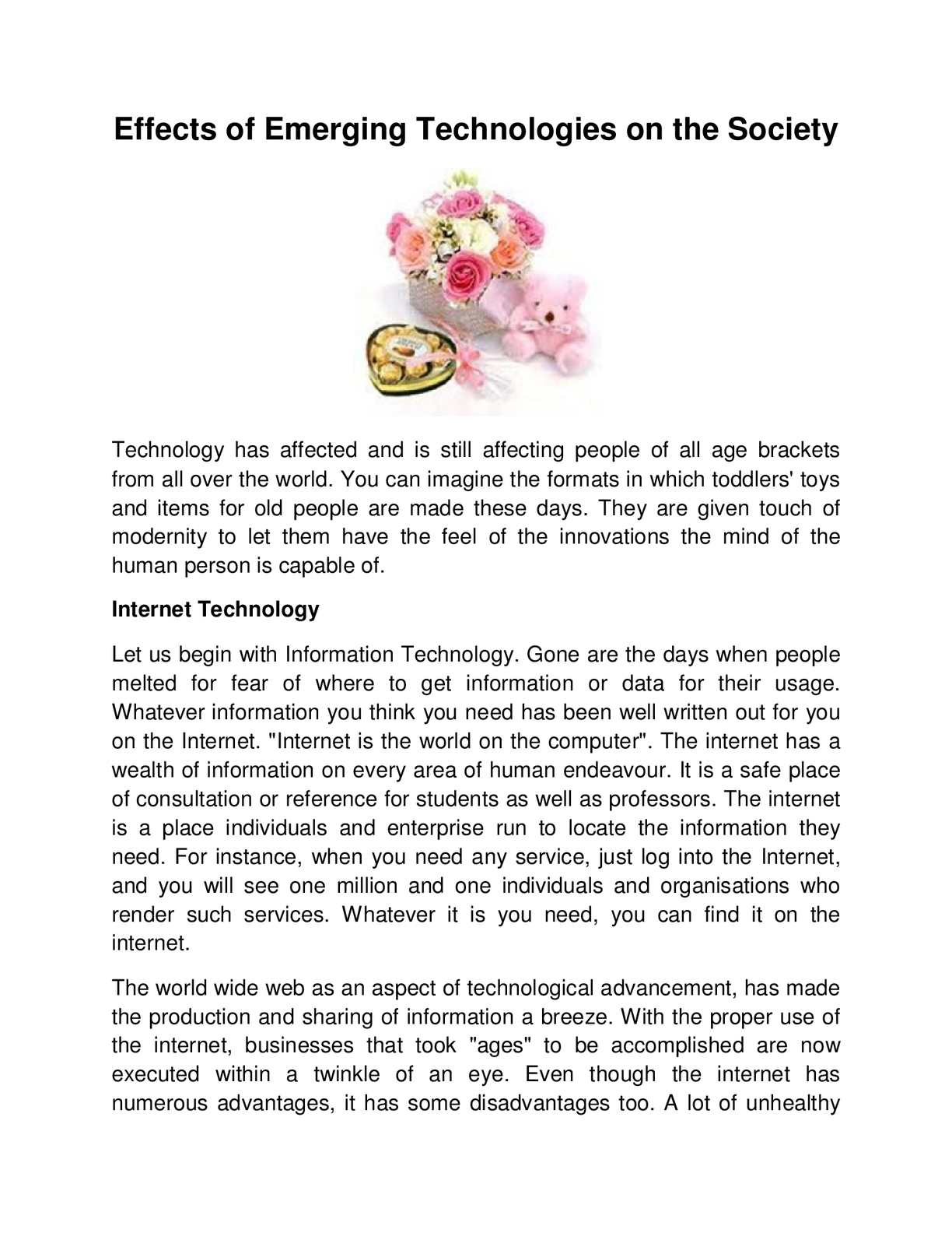 the effect of technology on society essay