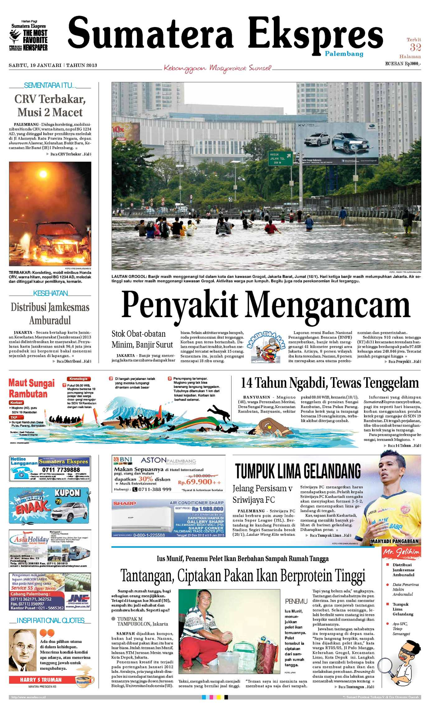 Calamo Sumatera Ekspres 19 Januari 2013 Krezi Kamis 17 Bantal Leher Bulu C House