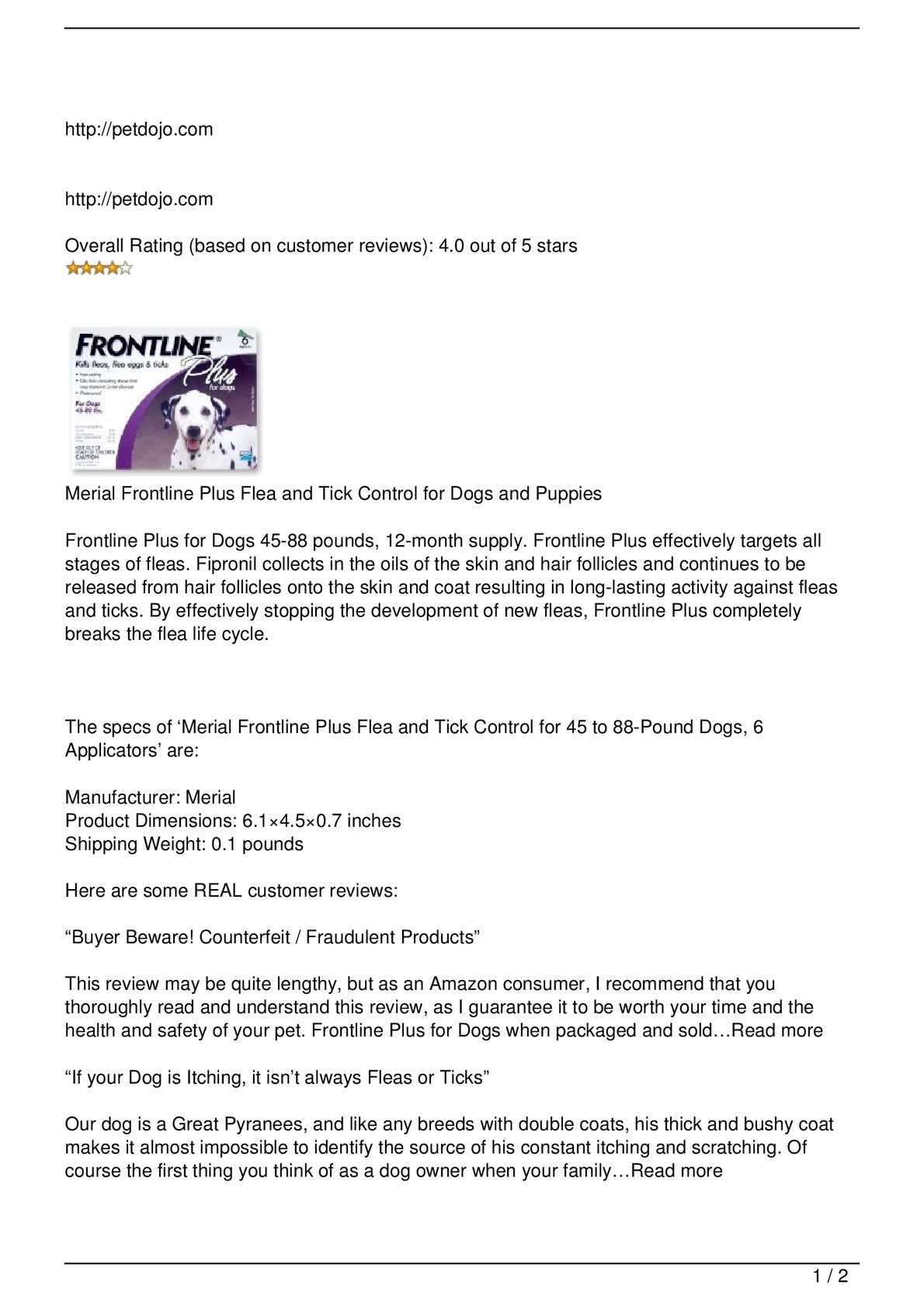 Calaméo - Merial Frontline Plus Flea and Tick Control for Dogs and ...
