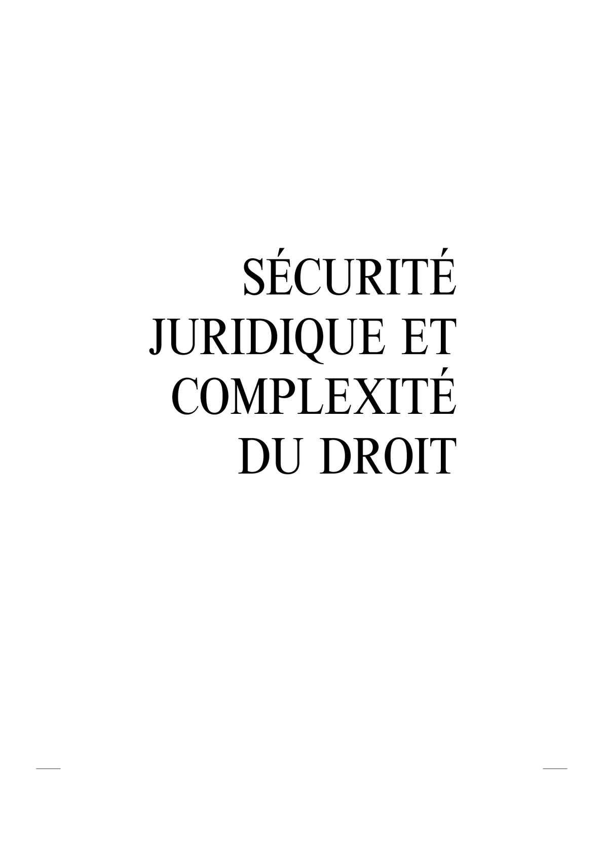 Sécurité juridique & complexité du droit
