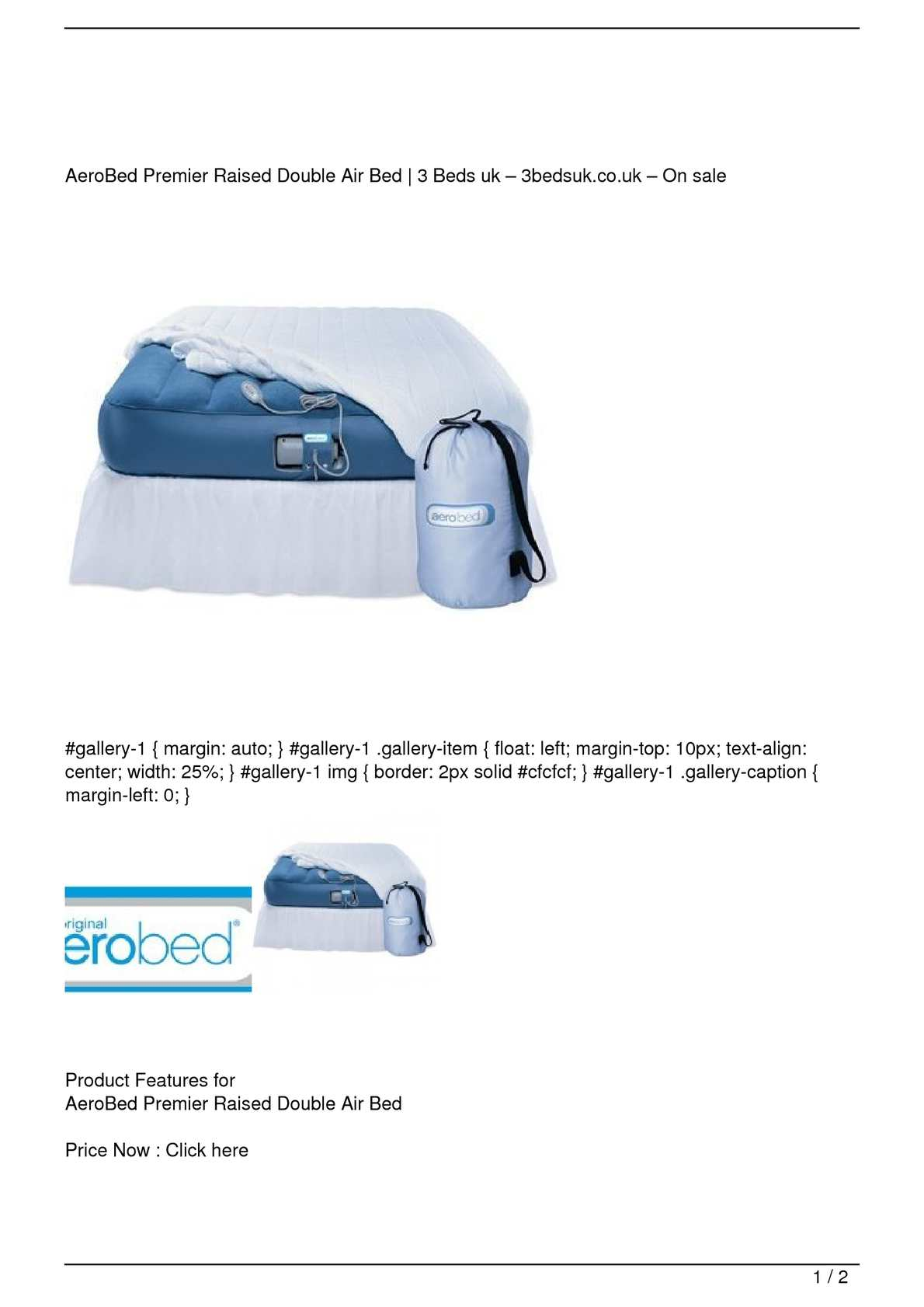 Calameo Aerobed Premier Raised Double Air Bed Big Sale