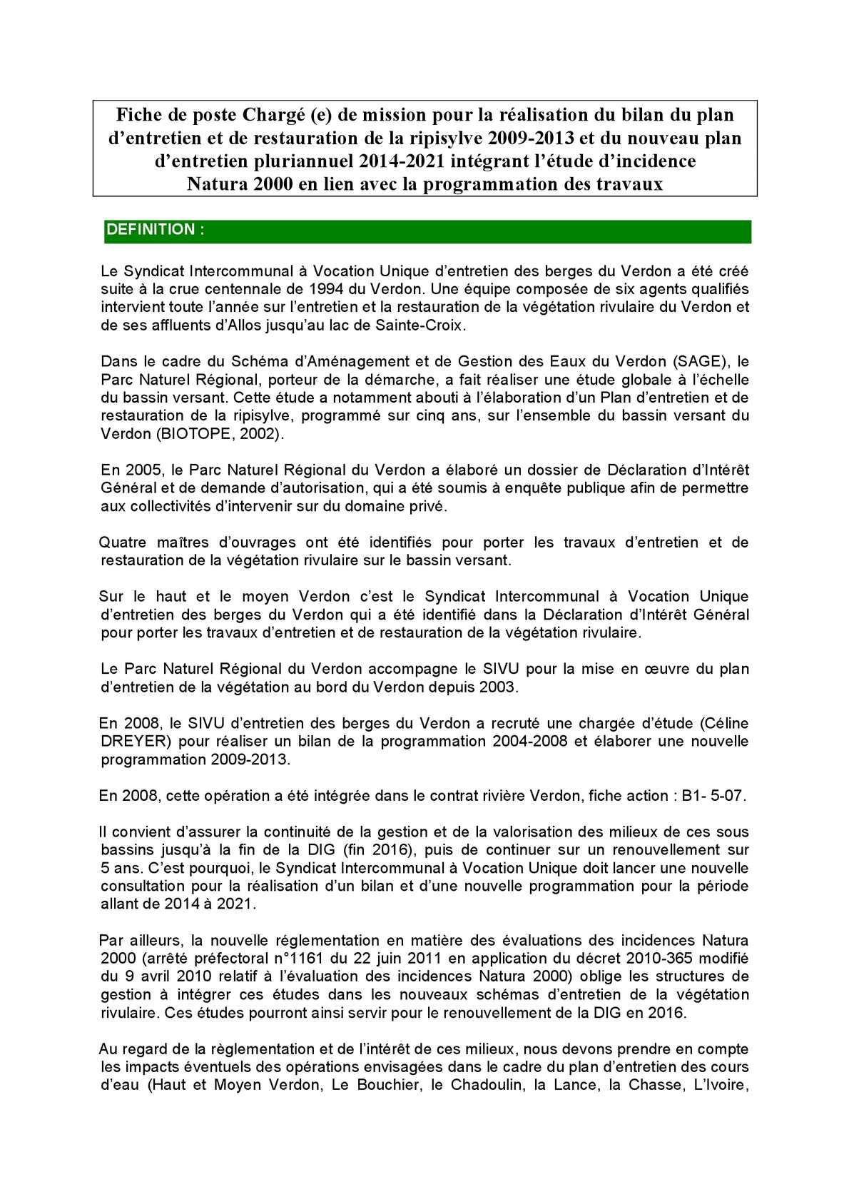 Calameo Fiche Charge De Poste Sivu Des Berges Du Verdon