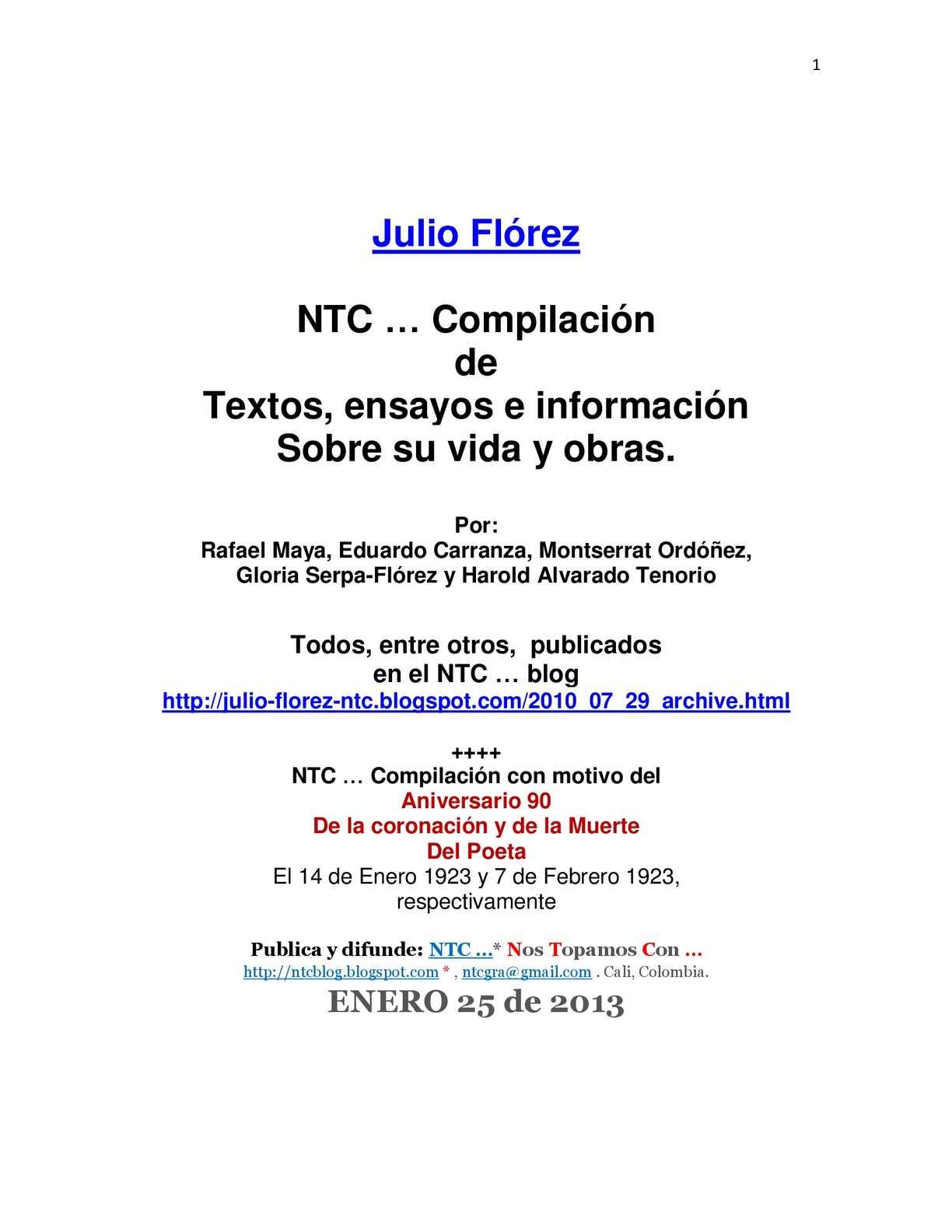 Calaméo - Julio Flórez. NTC compilación de textos sobre él.