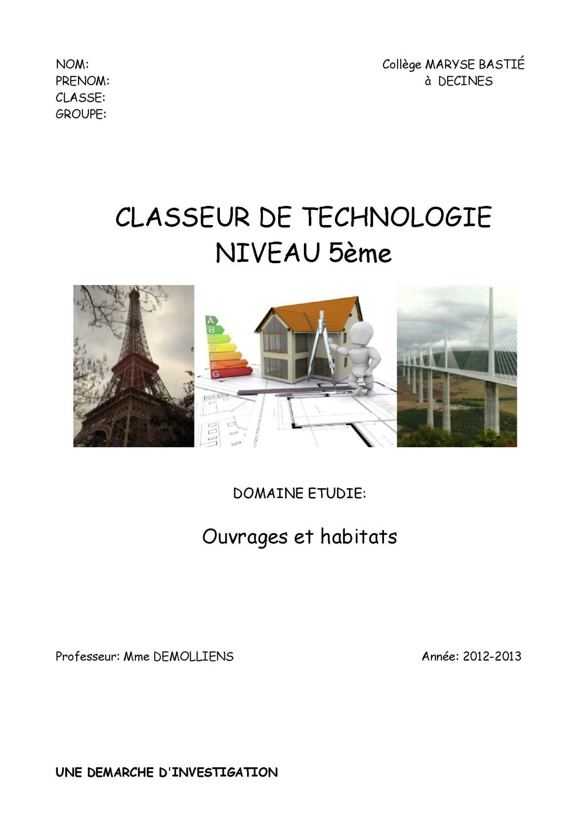 calam o classeur de technologie classe 5 me4. Black Bedroom Furniture Sets. Home Design Ideas