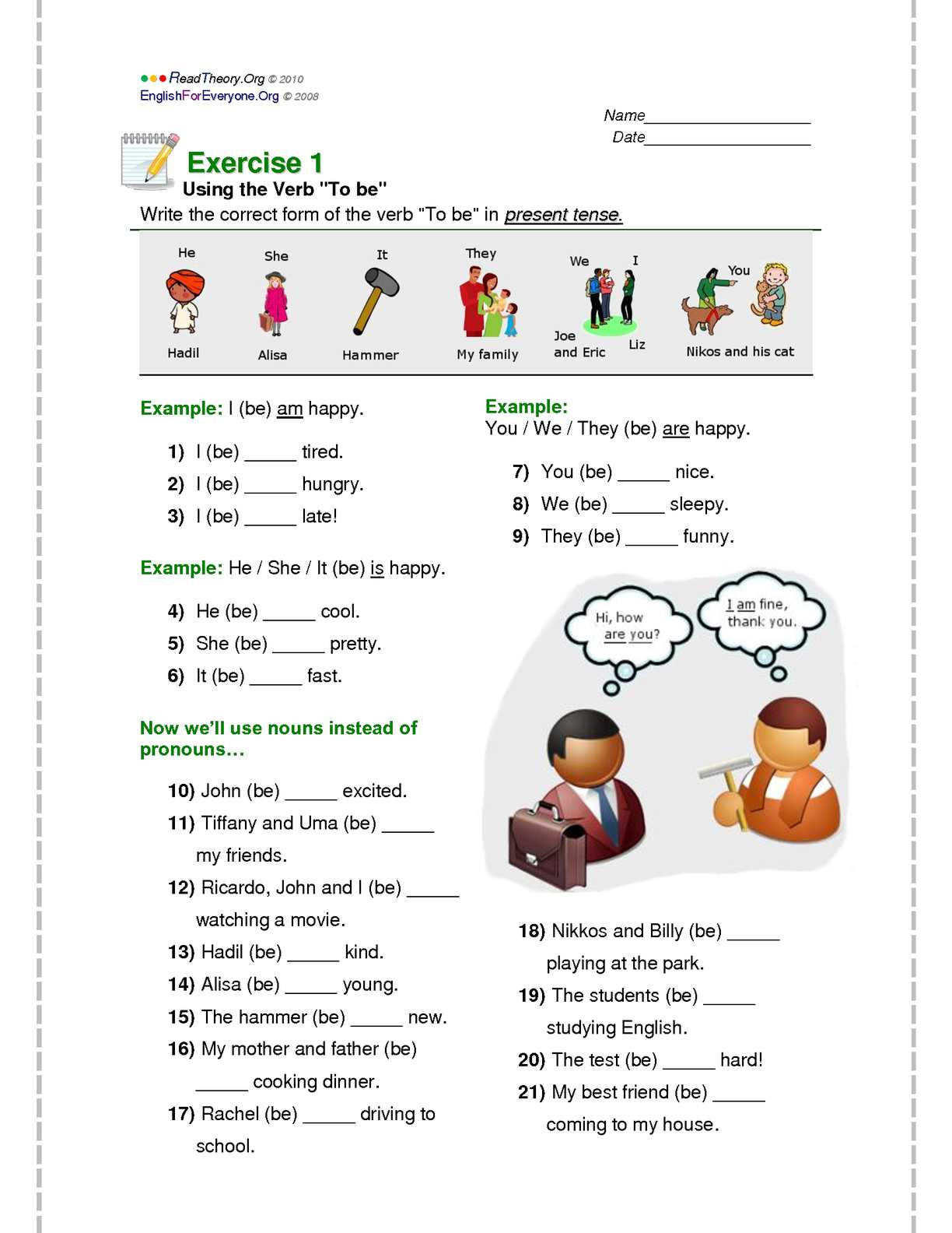 Calam 233 O Verb To Be Exercises