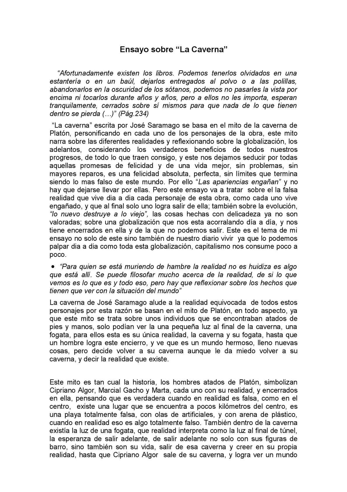 """Ensayo sobre """"La Caverna"""" José Saramago"""
