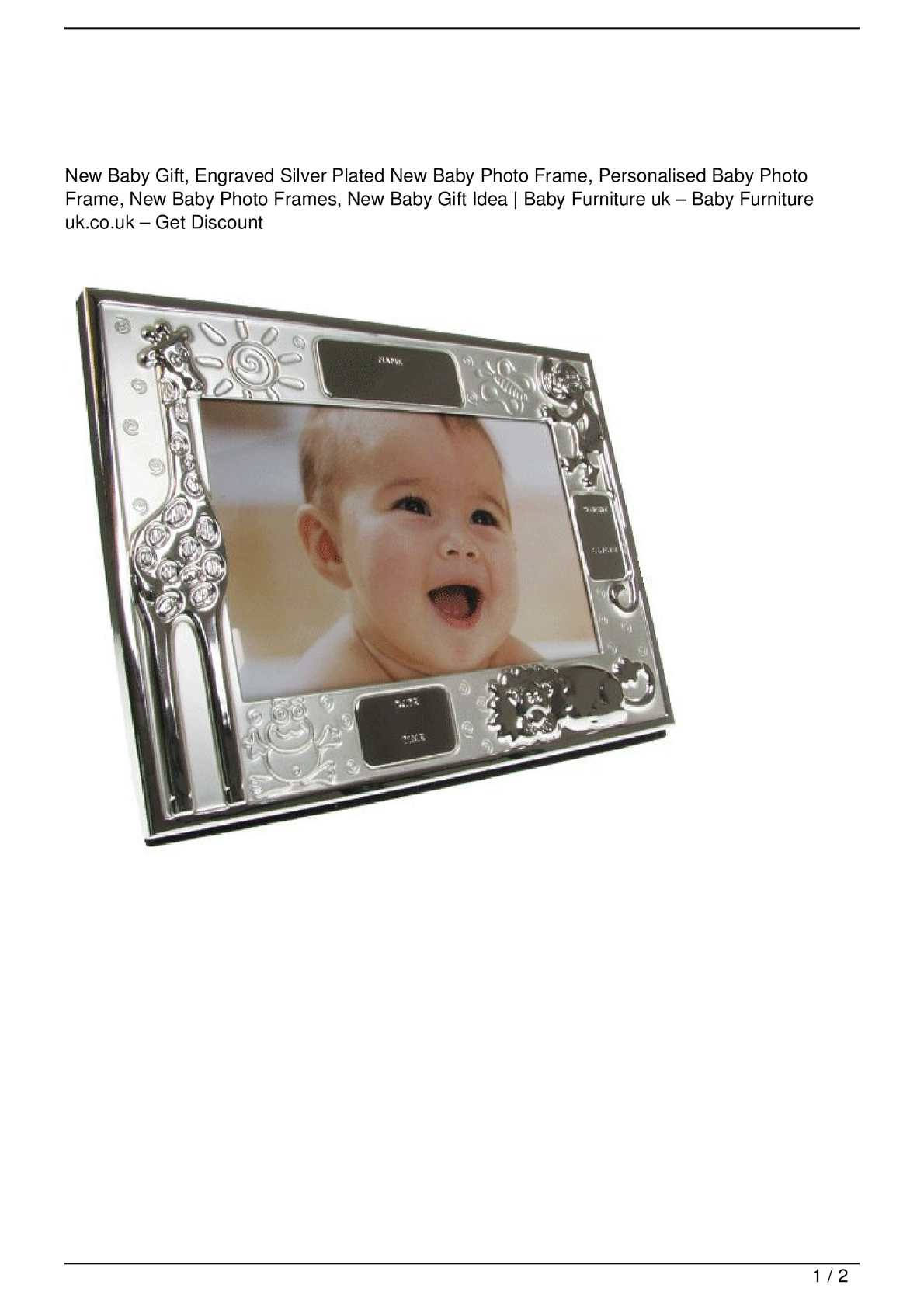 Calaméo - New Baby Gift, Engraved Silver Plated New Baby Photo Frame ...