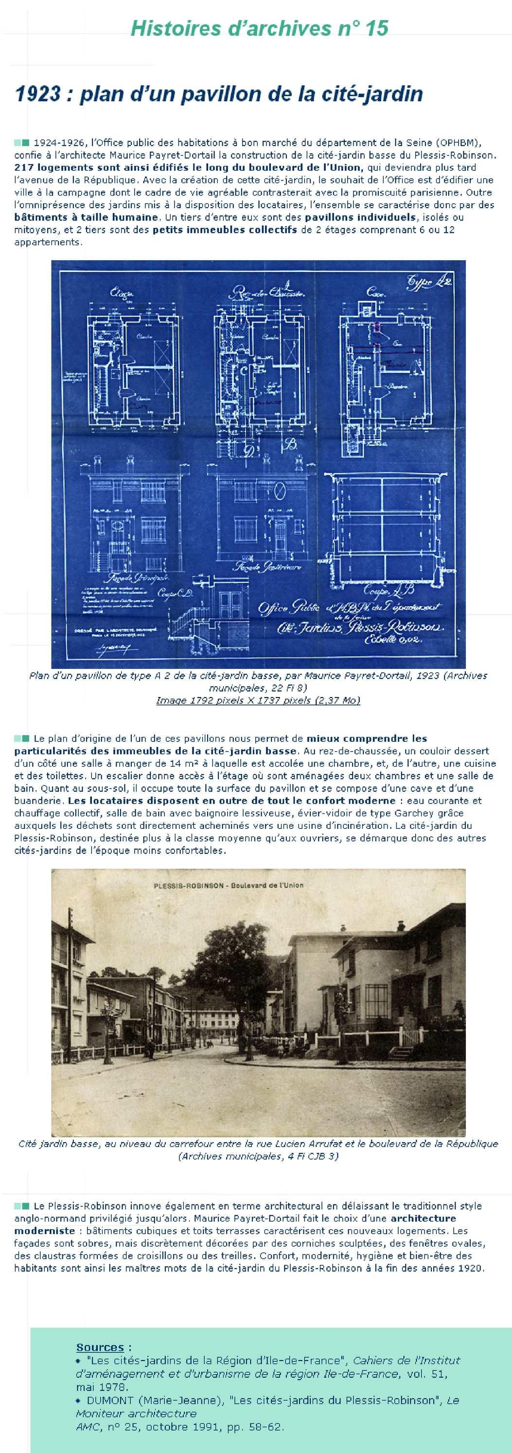 1923 : plan d'un pavillon de la cité-jardin (n°15)