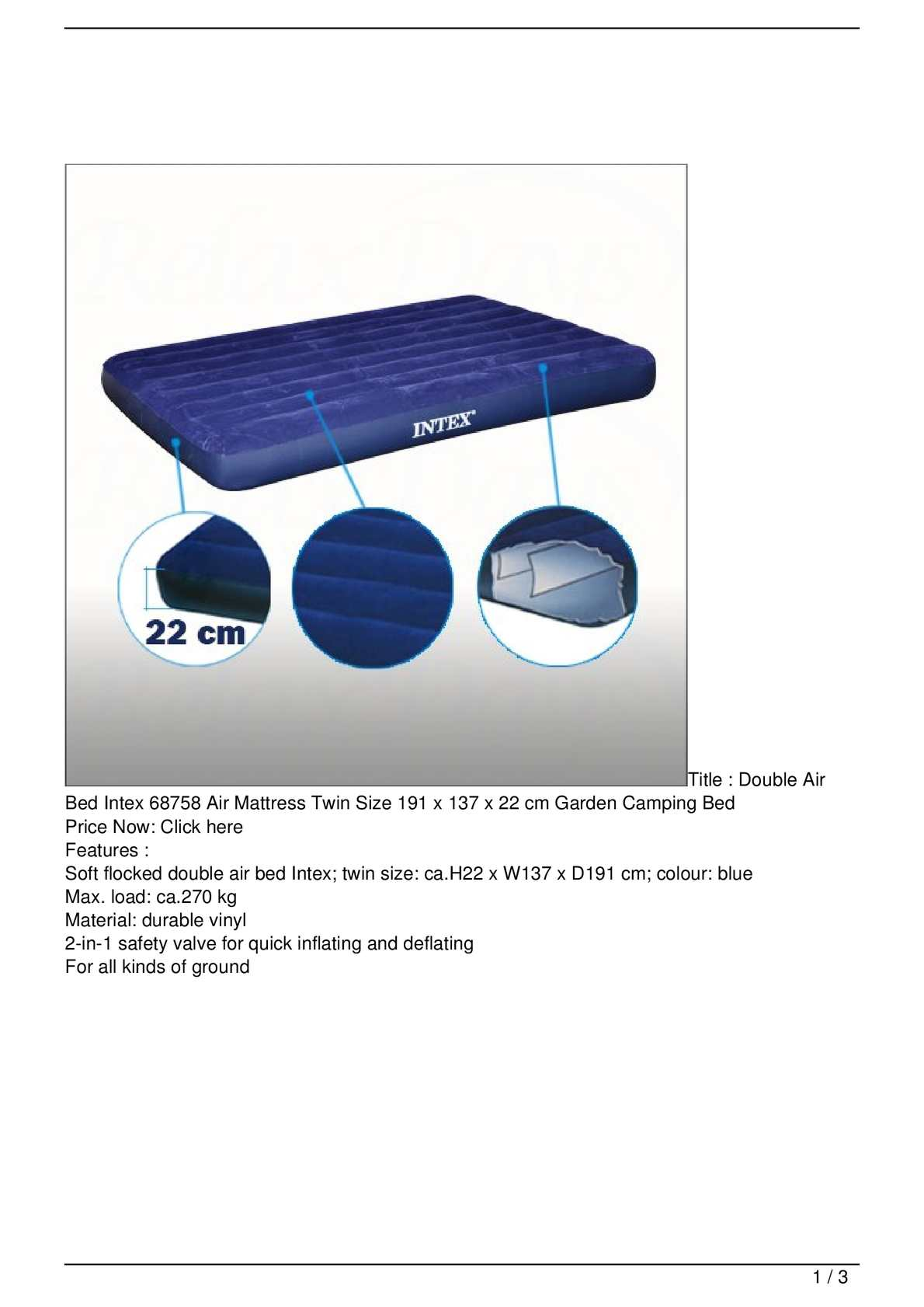 Calameo Double Air Bed Intex 68758 Air Mattress Twin Size 191 X