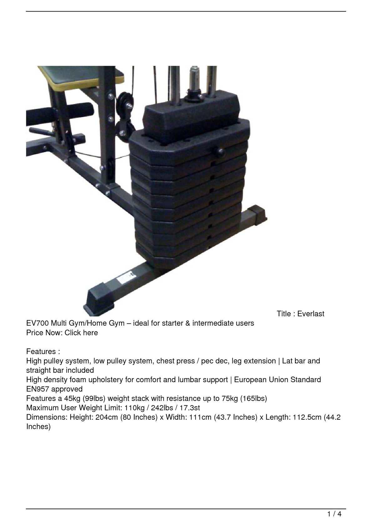 Calaméo - Everlast EV700 Multi Gym/Home Gym – ideal for starter  & intermediate users Discount !!
