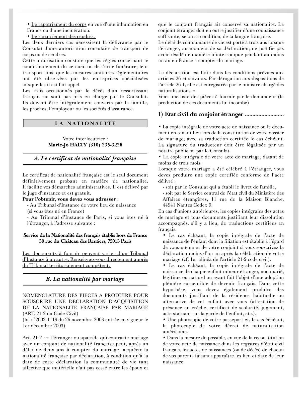 forum acquisition nationalite francaise titre mariage