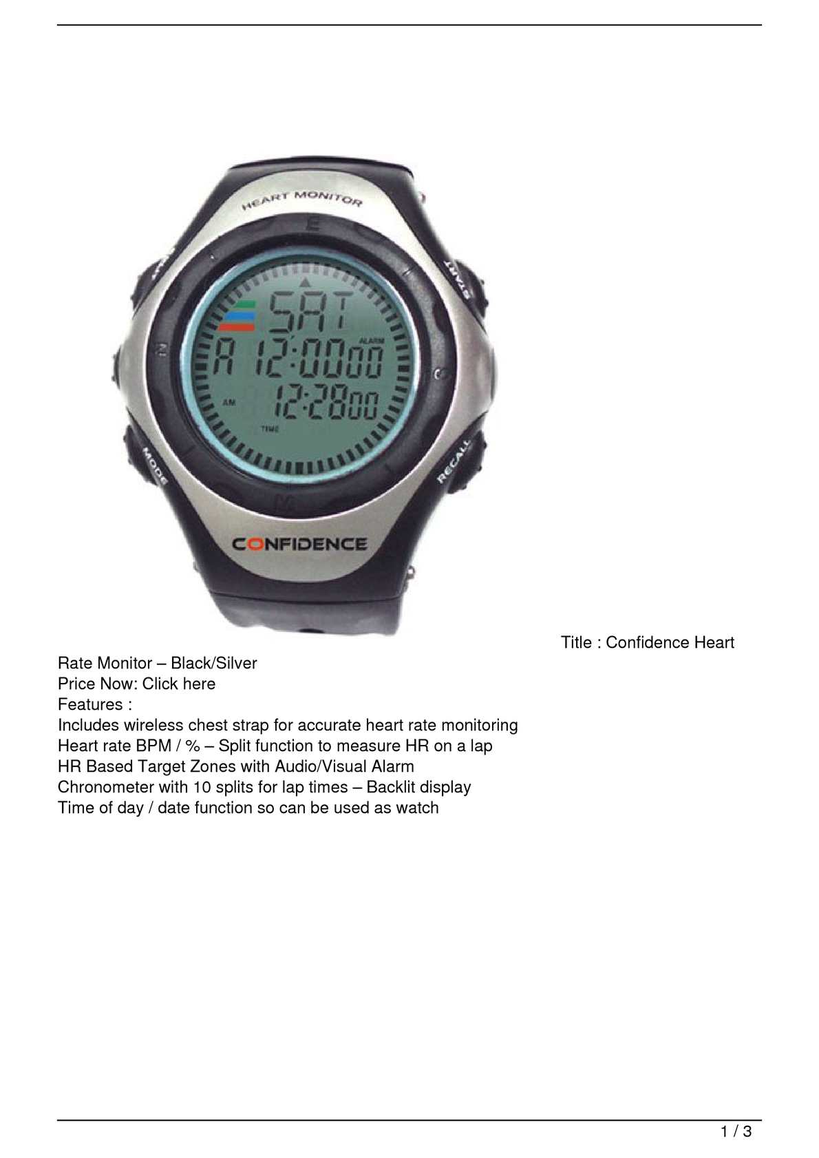 Calamo Confidence Heart Rate Monitor 8211 Black Silver Promo Offer Photo Of A Showing Chest Strap And Watch