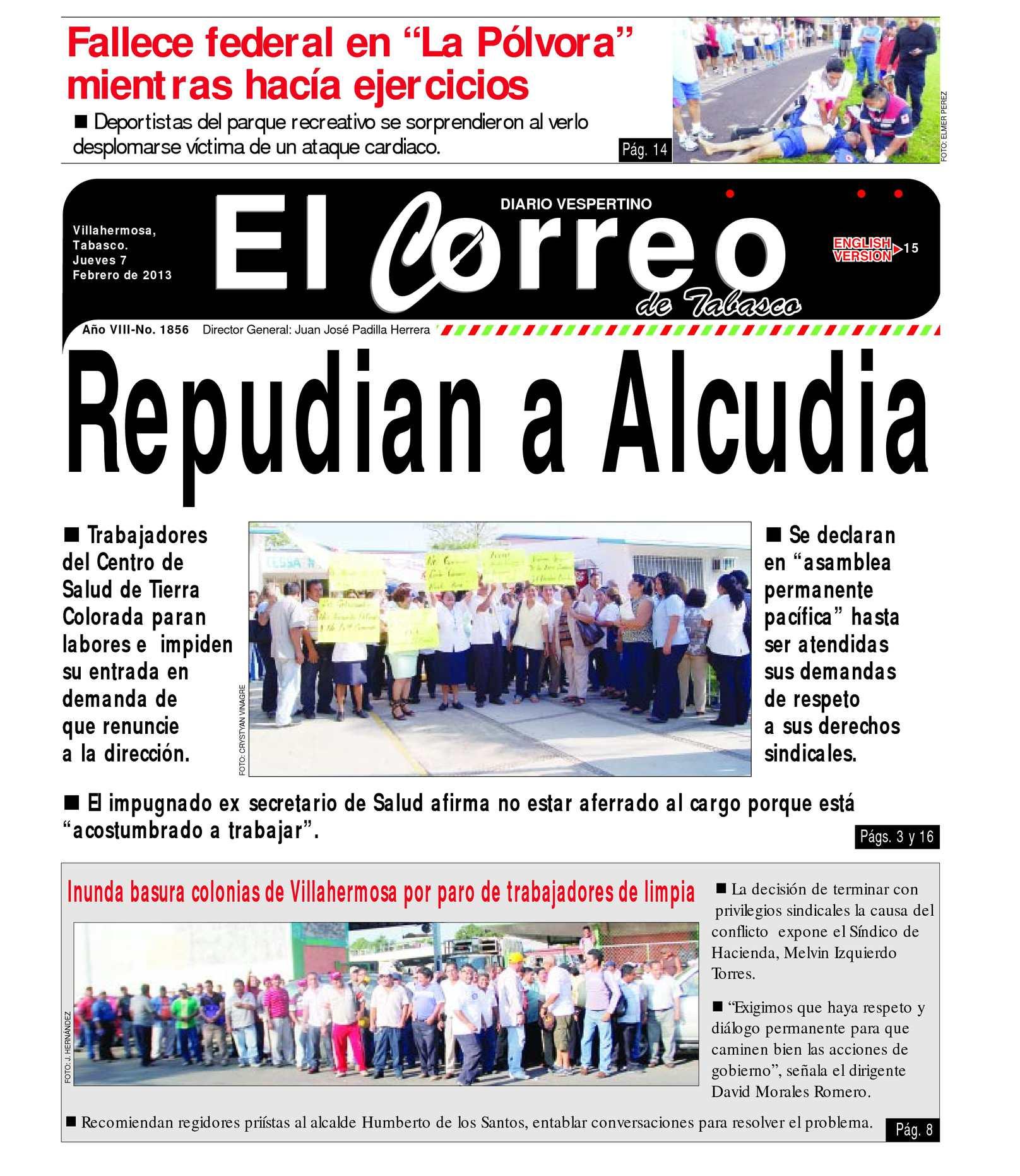 Calaméo - Jueves 07 de Febrero del 2013. El Correo de Tabasco
